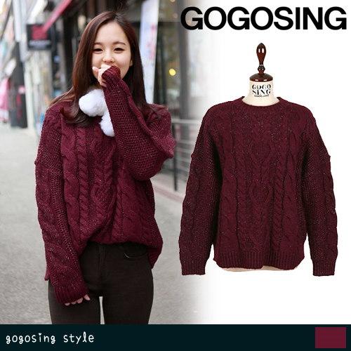 【GOGOSING】[ハニーニット]ボリューミーケーブル編み5Gニット ggs-p000bqye[1116] 韓国ファッション ニット ニットセーター  ドルマン トップス レディース