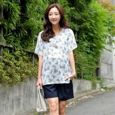 妊婦服・ドット・コムフラペチーノ妊婦の夏のブラウス プリントシャツ/ブラウス/ 韓国ファッション