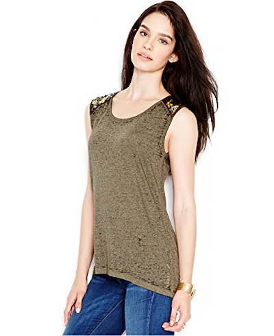 Guess Womens Embellished High-Low Top (Medium, Light Green And Black Heather)