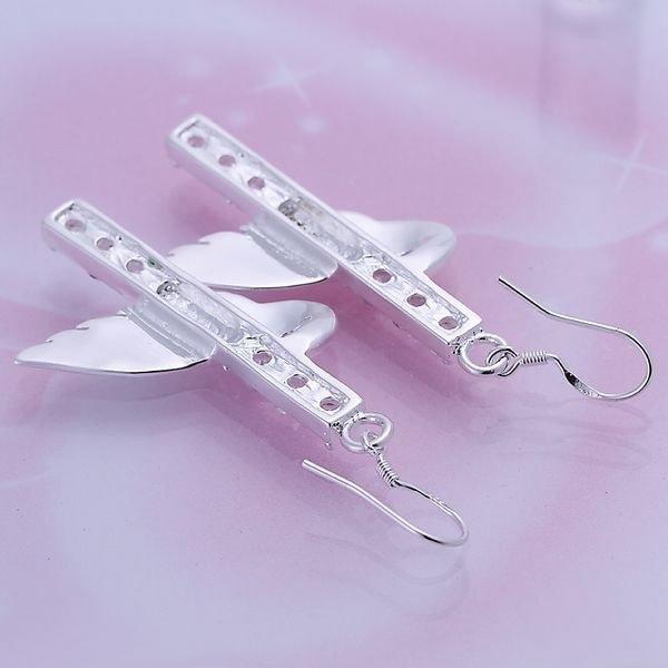 925純銀製の宝石のイヤリング細かい柱のウィングドロップジュエリーイヤリング卸売小売SMTE1