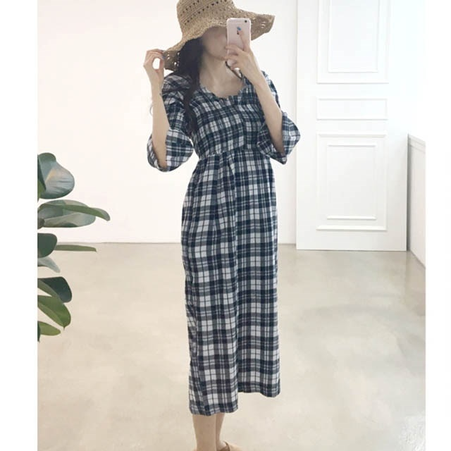 ヨリヨリピットチェックパターンスモークバンディングオフショルダーロングワンピース30375デイリールックkorea women fashion style