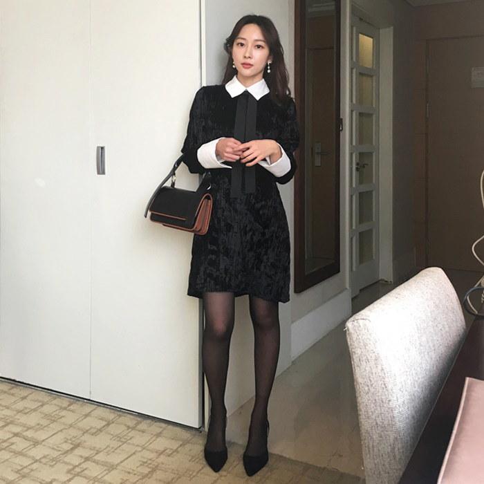ベルタイカラops(2color)[タイワンピース/ベルベットワンピース/カラーワンピース]/韓国ファッション