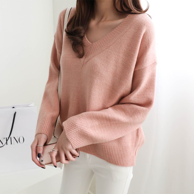 [Dimming] Polycarbonate V Neck 4 Color Winter Knit Crop Knit V Neck Knit Rouge Knit