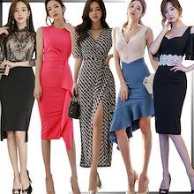「 03/26 新作追加 Special Offer」♥高品質♥韓国ファッション♥OL、正式な場合、礼装ドレス♥セクシーなワンピース、一字肩♥二点セット、側開、深いVネック♥やせて見える、ハイウエ