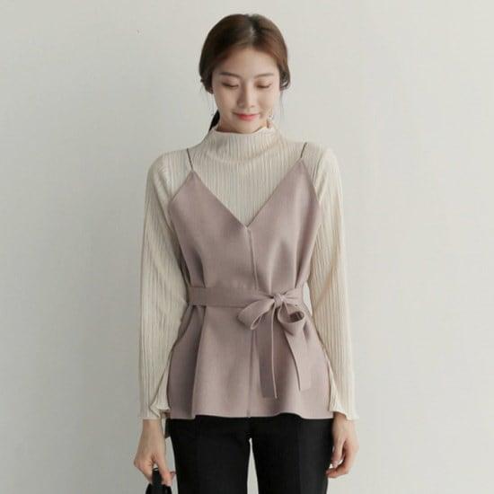 アップタウンホリックストラップウールvest4color冬の身元リボンブィスにブイネクブィスに ニット/セーター/ニット/韓国ファッション