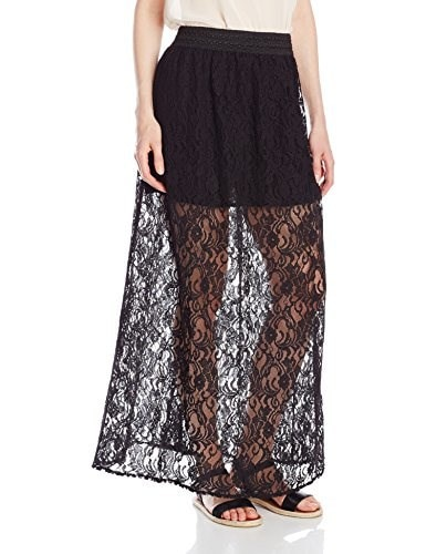 Miss Me Lace Maxi Skirt, Black, Small