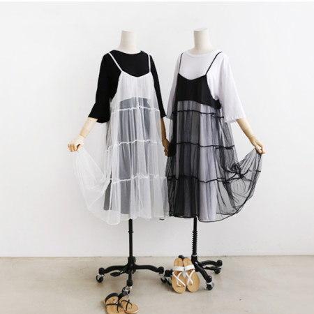 ビスチェ重ね着シフォンロングワンピース 半袖ロングワンピースセットデイリールックデイリーバックkorea women fashion style