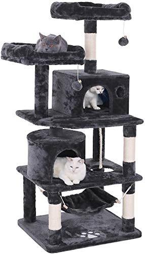 キャットタワー 猫タワー 大型猫 ネコタワー 天然サイザル麻紐 爪とぎ 2つ猫ハウス 猫 ハンモック 多頭飼い ねこ タワー 転倒防止 安定性抜群 クリスマス (ダークグレー)ダークグレー