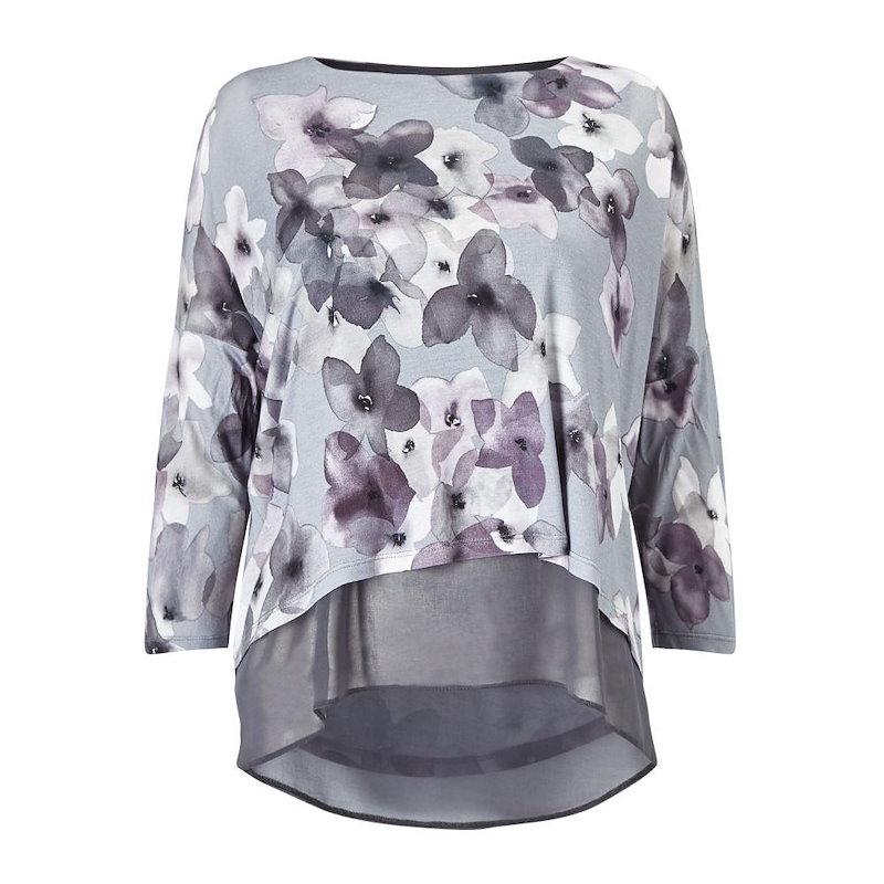 フェーズ エイト レディース トップス【Fraya Floral Double Layer Top】grey