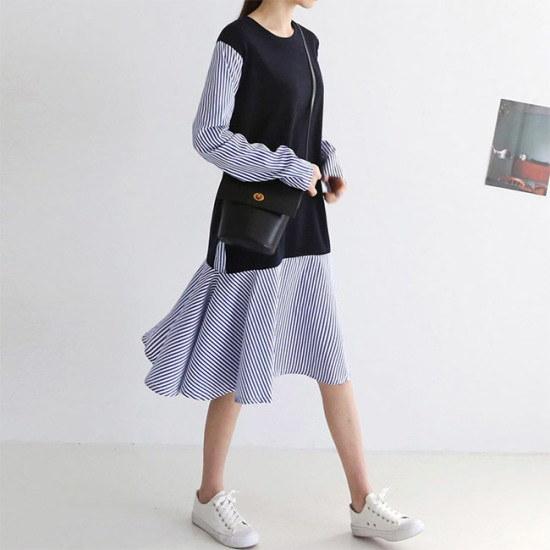 オーサムステラロングフレアシャツ、ワンピース233902 綿ワンピース/ 韓国ファッション