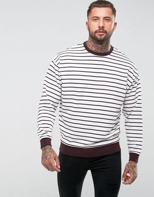 ASOS Oversized Sweatshirt With Stripes