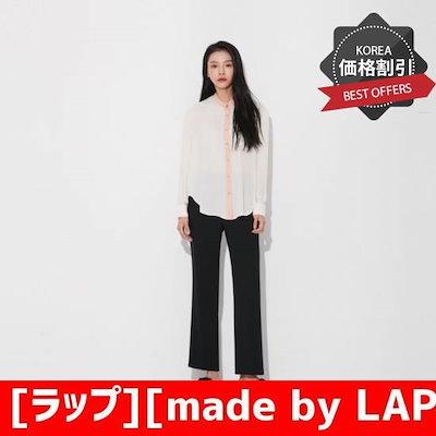 [ラップ][made by LAP]ネクク配色のブラウス(AJ4WB892) /ルーズフィット/ロングシャツ/ブラウス/ 韓国ファッション
