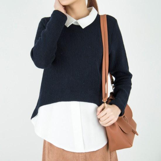 クッキーセブンP3586ソウル混紡シャツレイヤードニット ニット/セーター/ニット/韓国ファッション
