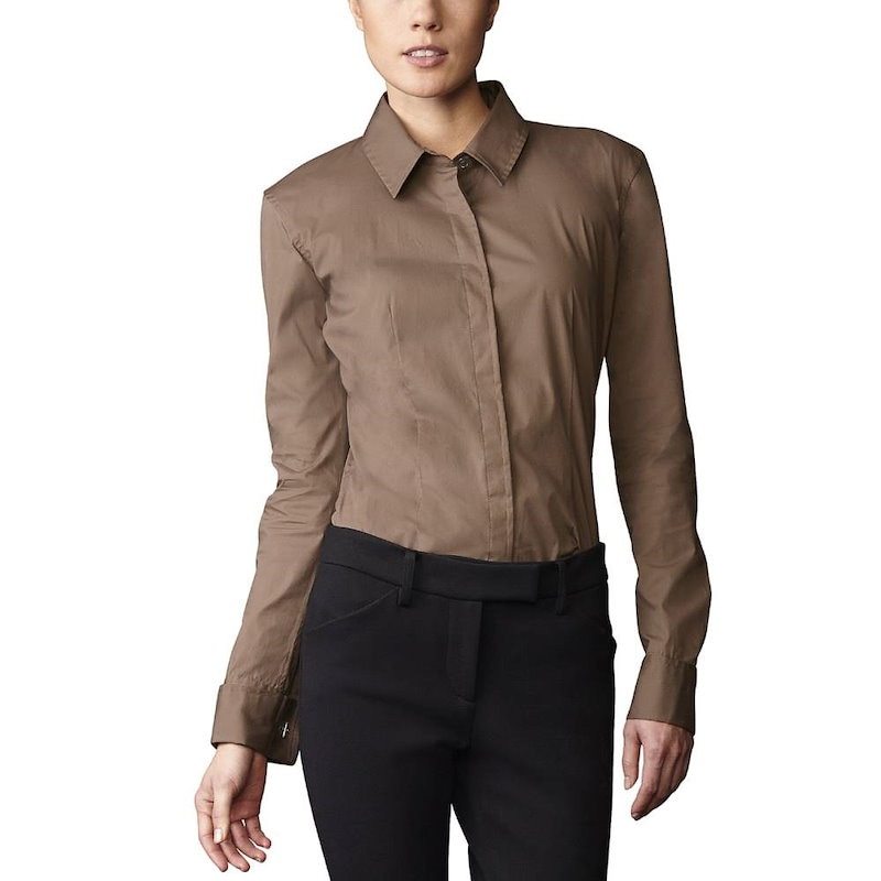 M.ボッティグリエリ レディース トップス ブラウス【Classic Cotton Poplin Button Down  Hudson  Shirt】Clay