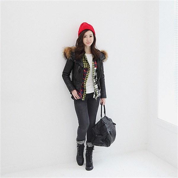 オンバルの皮ラクーンフード デニム/ライダー / 韓国ファッション/ジャケット/秋冬/レディース/ハーフ/ロング/