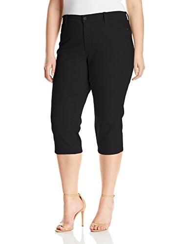 NYDJ Womens Plus-Size Ariel Crop Jeans In Colored Bull Denim, Black, 16W