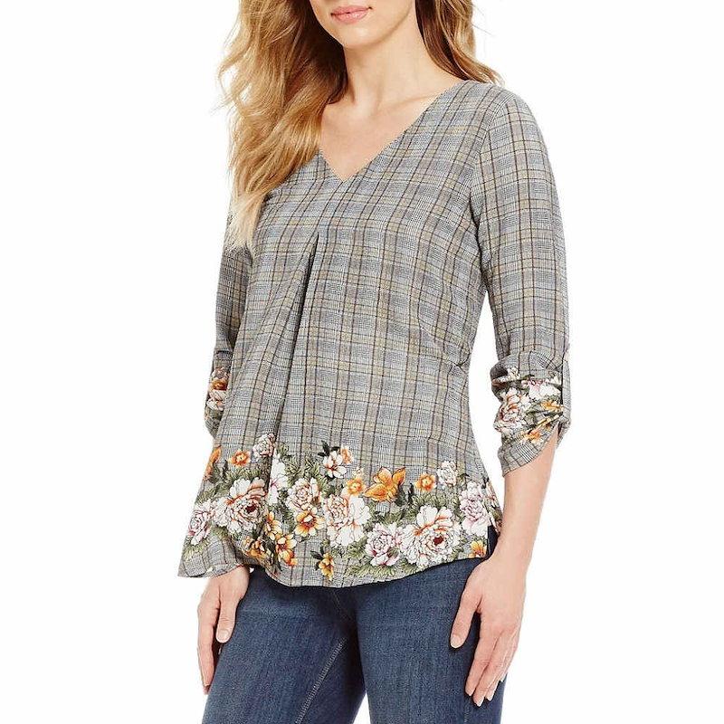 ボボウ レディース トップス ブラウス・シャツ【Bobeau Floral & Plaid Print V-Neck Roll-Tab Sleeve Top】Grey Multi