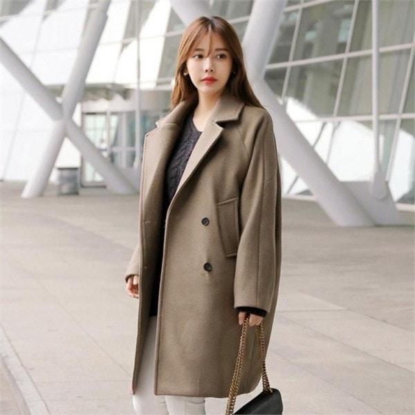 メイダブルコートルーズフィットウールのコートダブルコートベーシックnew 女性のコート/ 韓国ファッション/ジャケット/秋冬/レディース/ハーフ/ロ㠼/td>