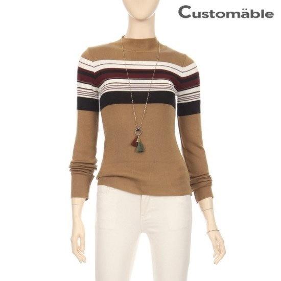 カスタムのエイブルカスタムのエイブル3色のカラー半ハイネックポルラニトゥC1710KN056C ニット/セーター/ストライプニット/韓国ファッション