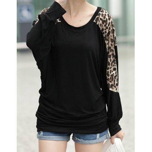 シックなスタイルスクープネックヒョウプリントバットウィングスリーブ女性のTシャツ