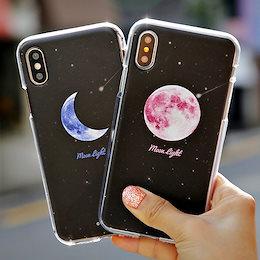 透明 iPhone13mini ケース クリア 韓国 ムーンライト 月 夜空 シンプル きれい
