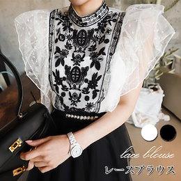 韓国ファッション半袖 Tシャツ大人可愛い 透け感 レース 袖 刺繍 袖レース トップス 花柄 大きいサイズブラウス
