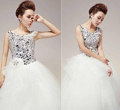 キラキラ 輝き ウェディングドレス 水晶 ノースリーブ 花嫁 礼服 バックレス 高級 XCXJ12