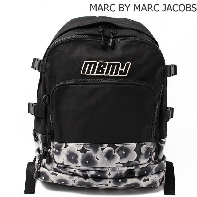 マークバイマークジェイコブス リュックサック/バックパック MARC BY MARC JACOBS メンズライン キャンバス/プリントレザー ブラック M0004005