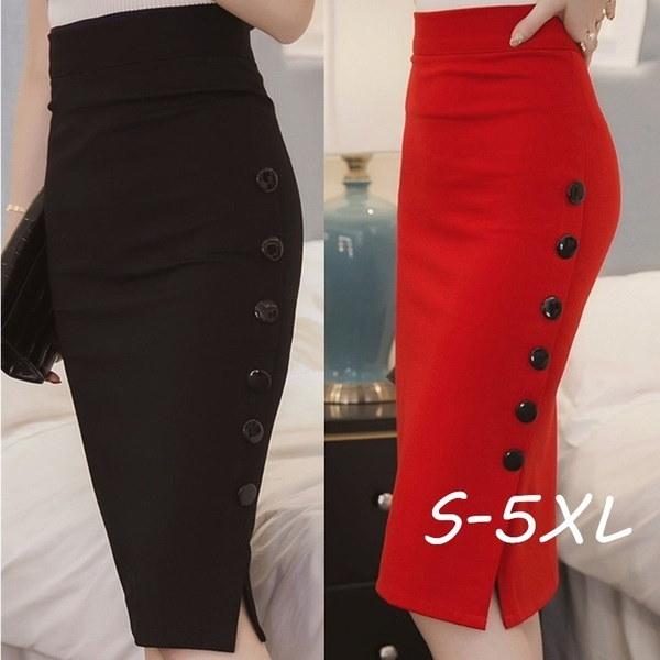 プラスサイズの新しいファッション女性のスカートミディスカートスリムOLセクシーなオープンスリットボタンスリム鉛筆のスカートElegan