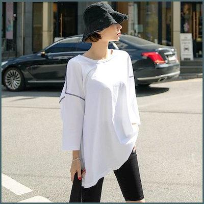 [工具ウーマン][工具ウーマン]日尾・ステッチ8部ティーシャツ42903ビックサイズ、女性衣類 /トップ/ノースリーブTシャツ/ 韓国ファッション