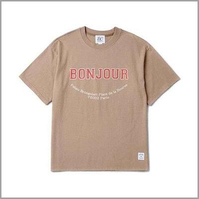 [ビヨンド・クローゼット][ビヨンド・クローゼット][ビヨンド・クローゼット]BONJOUR 1/2 T-SHIRT BEIGE /プリント/キャラクターシャツ / 韓国ファッション