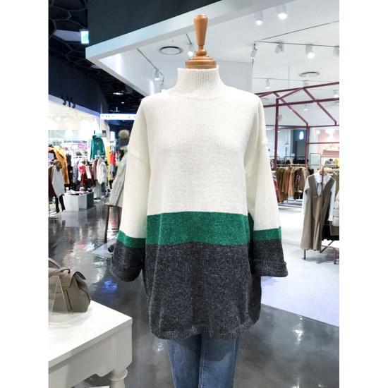 スタジオホワイト3段配色ポルラネクニートMD228Q540 / ニット/セーター/タートルネック/ポーラーニット/韓国ファッション