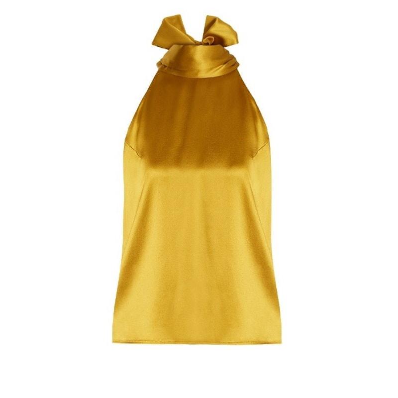 ガルバン レディース トップス【Tie-neck silk-satin top】Golden-yellow