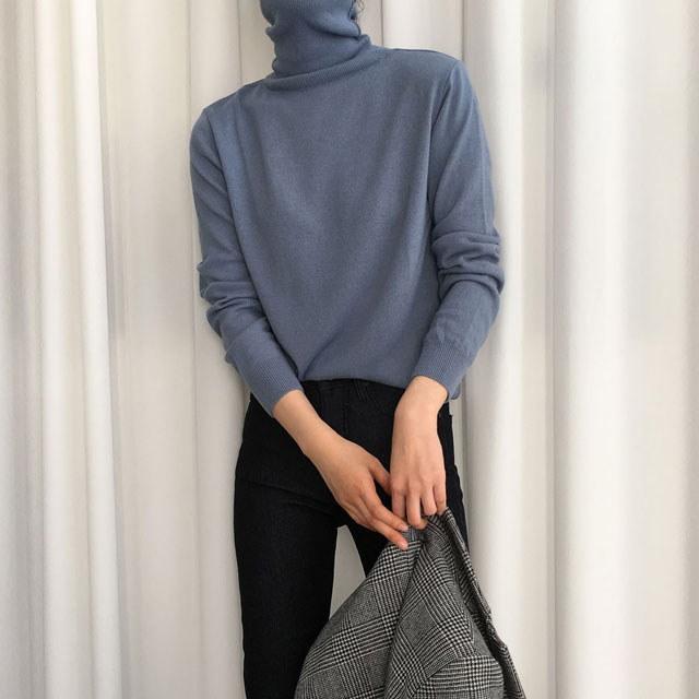 [ラルム】ナチュラルポーラニット7col korea fashion style