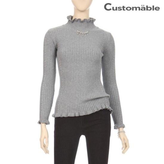 カスタムのエイブルカスタムのエイブルフェミニンフリルゴルジウール・ニットC1710KN059D ニット/セーター/ニット/韓国ファッション