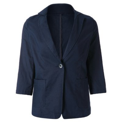 Casual Lapel Solid Color 3/4 Sleeve Blazer For Women