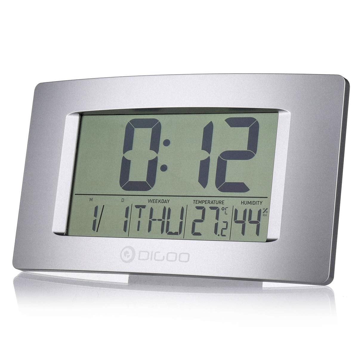 壁掛け時計 DIGOO 電池式 置き時計 目覚まし時計 日付 温度計湿度計 英語曜日 時間 大画面 アラーム ウォールクロック スヌーズ機能 大型 デジタル 飾り 多機能 おしゃれ 31x8.5cm
