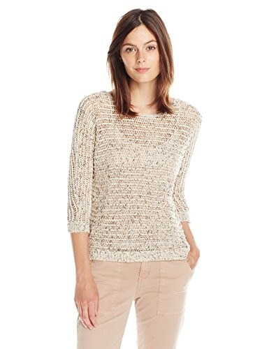 Lucky Brand Womens Marled Yarn Pullover, Natural Multi, X-Large