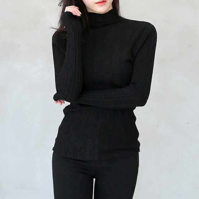 女性の首ポーラ段ボールニット縁楽しみユニークなチェーン状編みが魅力的な首ポーラニット