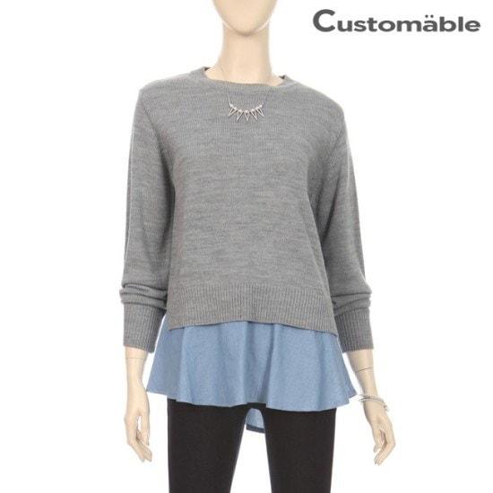 カスタムのエイブルカスタムのエイブル下のだんのデニム配色ラウンドニットC1710KN057C ニット/セーター/ニット/韓国ファッション