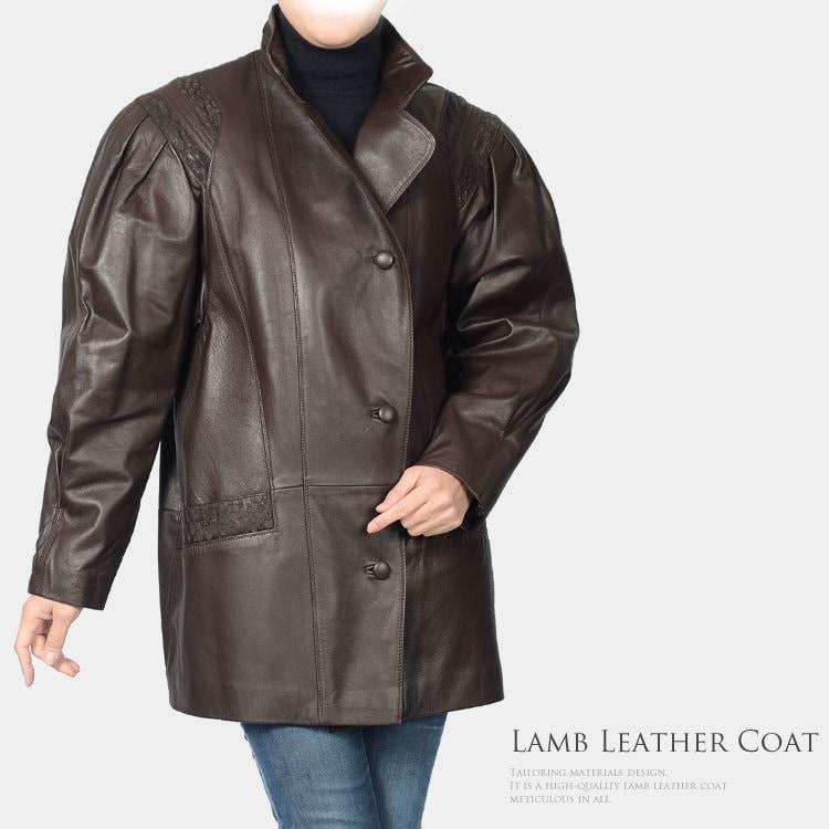 【1点限り】  ラム コート ダークブラウン   サイズ 38 ◆◆ 冬 プレゼントcoat (No.2270-369r)