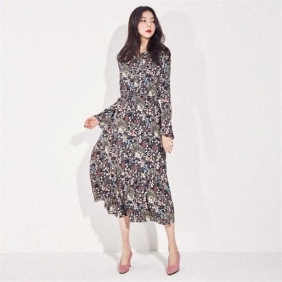 メグジェイMAGJAY行き来するようにメグジェイ水彩画花ワンピースJ11OOP001 ニット・ワンピース/ 韓国ファッション