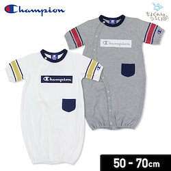 8ff0b2c93354e チャンピオン champion ベビー 新生児 子供服 半袖 ツーウェイオール カバーオール ロンパース 袖ライン 男の子 天竺 出産