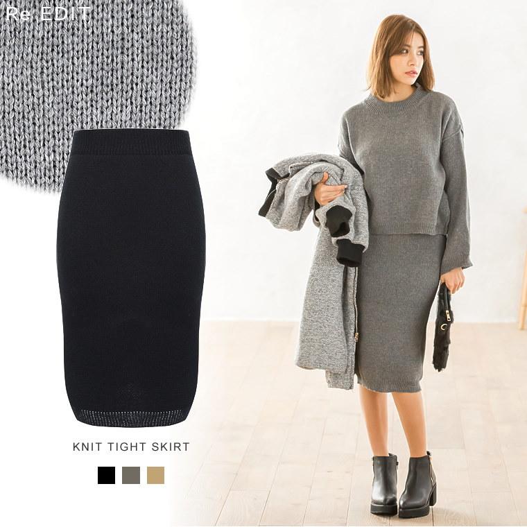 [全3color]ニットタイトスカート