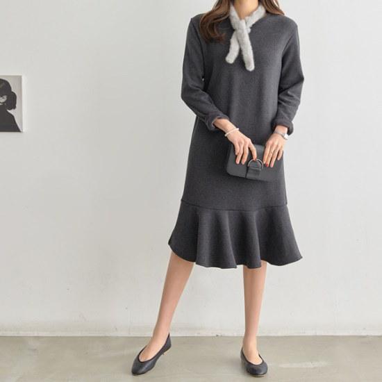 ペッパーの裾フレアユンワンピース35024 綿ワンピース/ 韓国ファッション