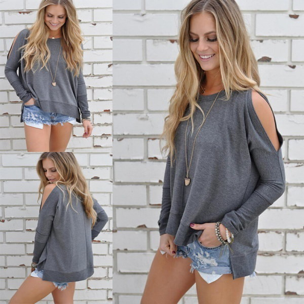 Women Casual Loose Solid Color Round Neck Cold Shoulder Long Sleeves Pullover