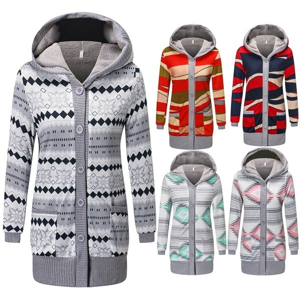 Women Casual Winter Printing Printing Cardigan Fashion Cashmere Knitted Coat Hooded Long Sleeve Thic