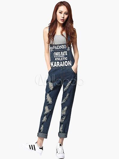 女性のための現代的なユーズド加工ストレートデニムジーンズ