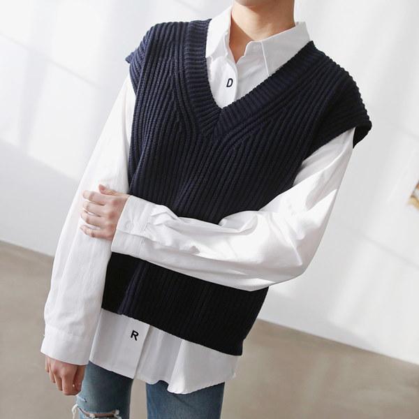 [送料無料]★4COLOR★クロップオンバルVネックニットベスト(knit480)