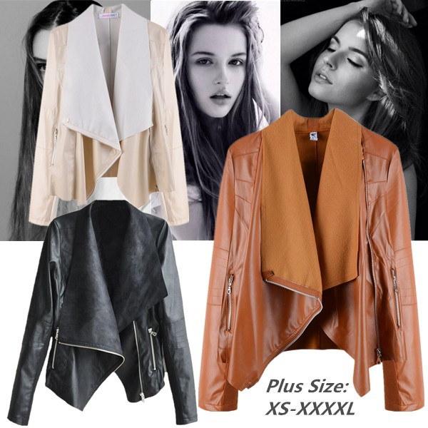プラスサイズの女性ファッションガールズトップスジャケットオートバイモトPUレザーラペルブリーザジャケットブラック/イエロー